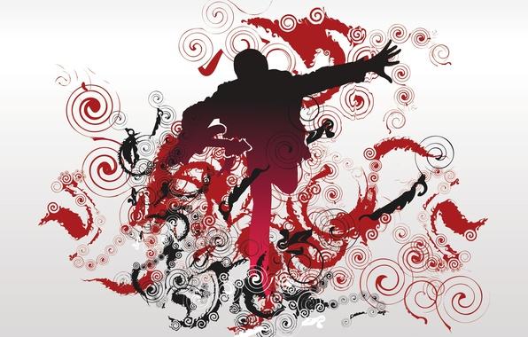 Картинка музыка, узор, завитки, человек, Вектор
