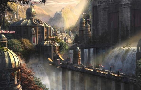 Картинка деревья, пейзаж, горы, мост, город, замок, башня, водопад, флаги, дворец