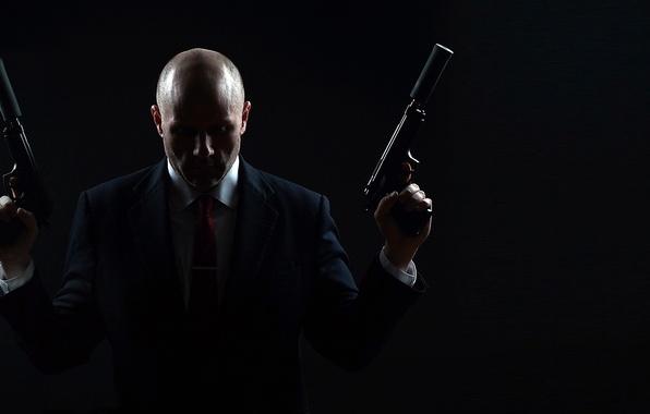 Картинка оружие, фон, человек