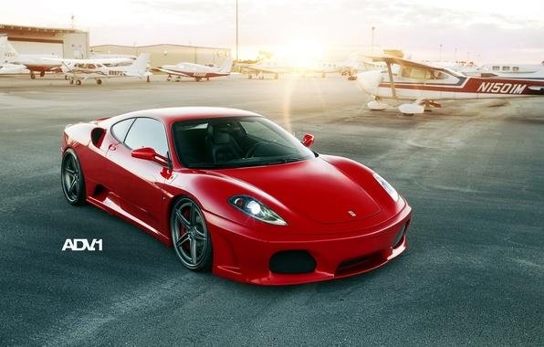 Картинка закат, красный, тюнинг, суперкар, ferrari, феррари, аэродром, f430, tuning, передок, самолёты, ф430, adv.1