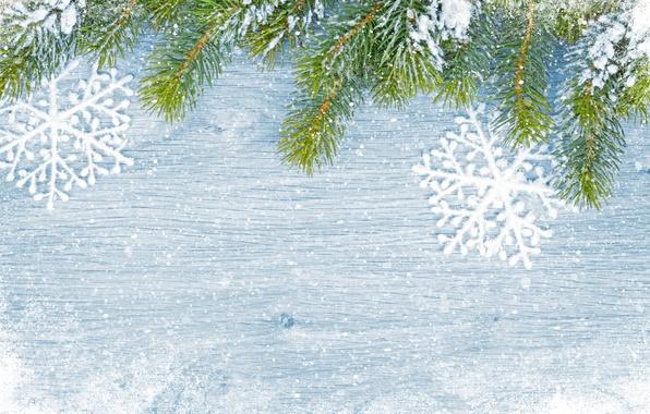 Картинка зима, снег, снежинки, елка, Новый Год, Рождество, Christmas, wood, winter, snow, decoration, Merry