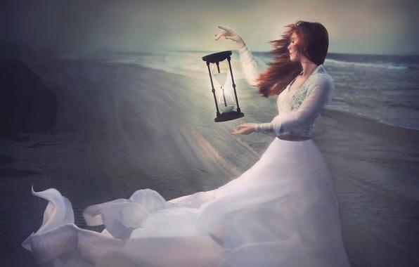 Картинка девушка, ветер, берег, часы, платье, арт