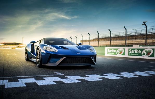 Картинка синий, разметка, трасса, Ford, суперкар, supercar, форд, blue