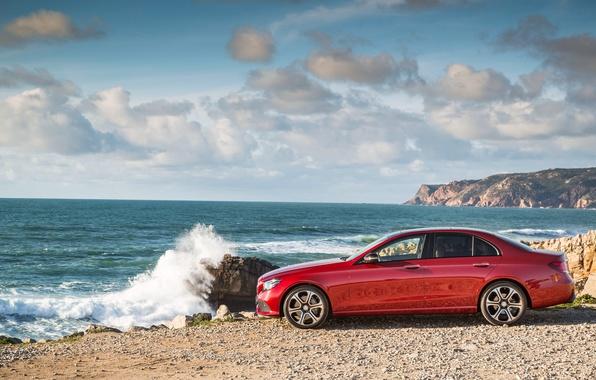 Картинка море, небо, облака, океан, берег, побережье, Mercedes-Benz, E-Class, мерседес, W213