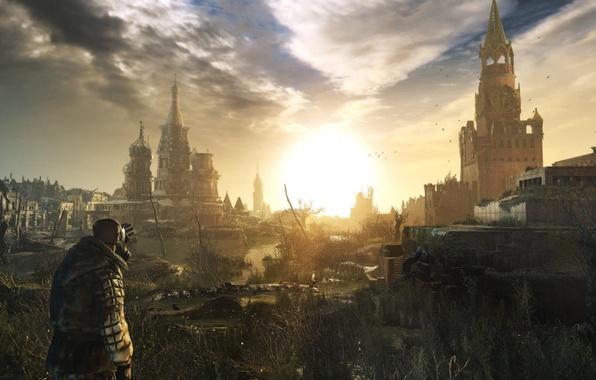Картинка солнце, закат, рассвет, апокалипсис, кремль, противогаз, руины, stalker, конец света, 2033, moscow, metro, 2034, last …