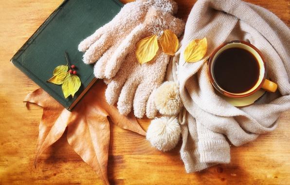 Картинка осень, листья, кофе, шарф, чашка, hot, autumn, leaves, cup, coffee