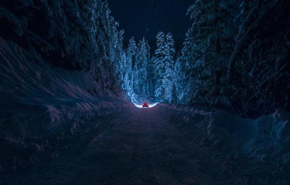 Картинка зима, дорога, машина, лес, небо, звезды, свет, снег, ночь, Болгария, By inhiu, Кюстендил