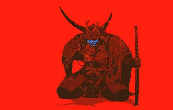 Картинка фон, меч, катана, воин, самурай, Samurai