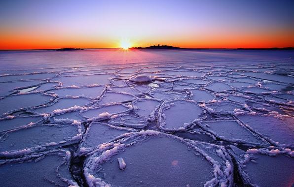 Картинка зима, небо, солнце, лучи, закат, озеро, лёд