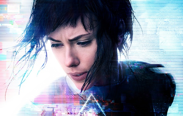 Картинка Scarlett Johansson, cinema, wallpaper, logo, robot, green eyes, woman, anime, night, short hair, movie, Ghost …