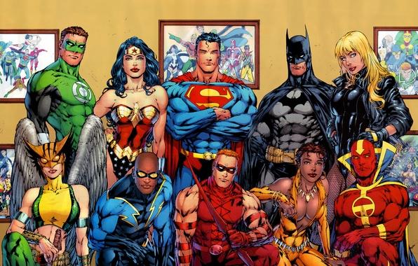 Картинка batman, superman, comics, heroes, green lantern, wonder woman, dc universe