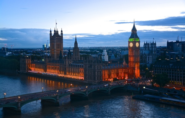 Картинка огни, Англия, Лондон, вечер, сумерки