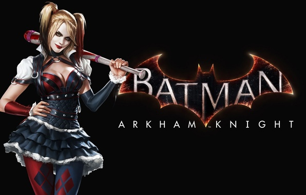 Картинка Девушка, Взгляд, Бита, Харли Квинн, Harley Quinn, Warner Bros. Interactive Entertainment, Rocksteady Studios, Бэтмен: Рыцарь …