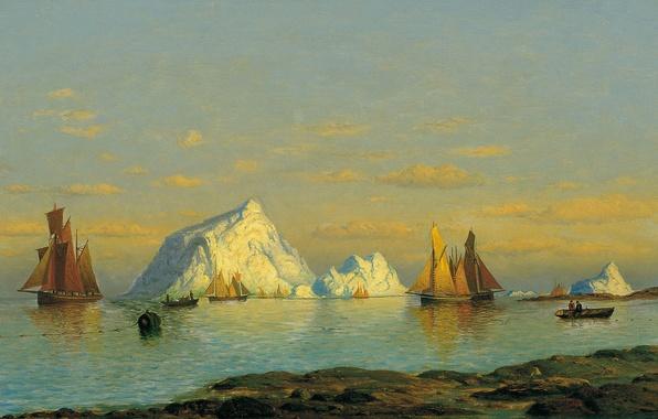 Картинка лодка, корабль, картина, айсберг, парус, морской пейзаж, Уильям Брэдфорд, Рыбаки на Побережье Лабрадора