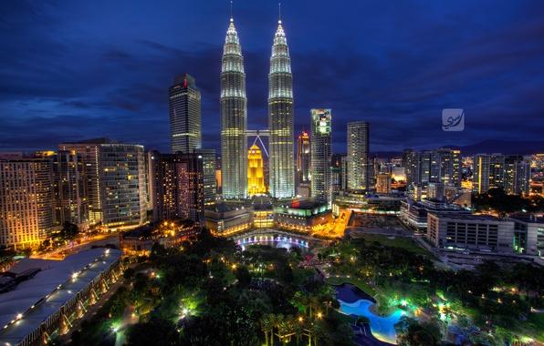 Картинка ночь, Малайзия, Kuala Lumpur, Blue Hour, Malaysia, Куала-Лумпур, Rasdi Abdul Rahman Photography