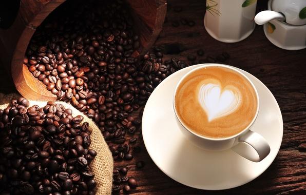 Картинка фон, обои, настроения, сердце, кофе, зерна, wallpaper, love, сердечко, капучино, heart, широкоформатные, background, coffee, полноэкранные, …