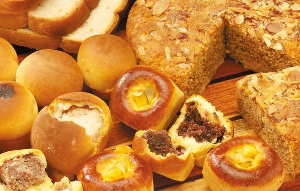 Картинка стол, хлеб, пирог, орехи, сдоба, выпечка, начинка, булочки, ломти
