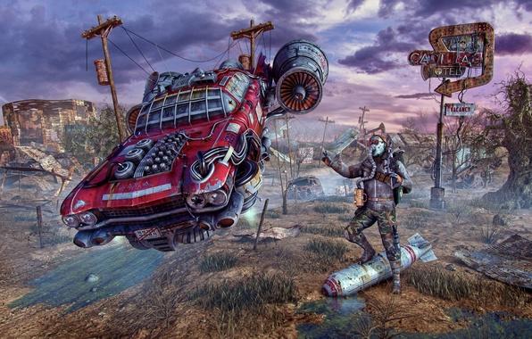 Картинка машина, авто, фантастика, человек, бомба, противогаз, руины, fallout, автомобиль, пустошь, постапокалипсис, fan art
