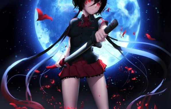 Картинка девушка, ночь, улыбка, оружие, луна, катана, аниме, арт, форма, школьница, blood+, kisaragi saya