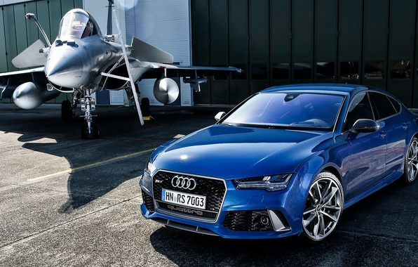 Картинка самолет, Audi, ауди, синяя, Sportback, RS 7