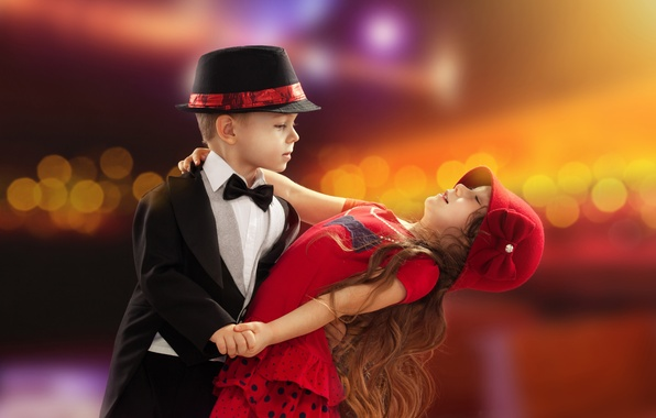 Картинка любовь, детство, романтика, ребенок, танец, мальчик, пара, девочка, love, День святого Валентина, boy, couple, dance, …