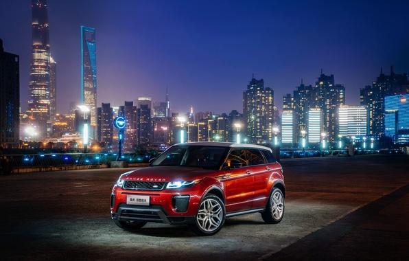 Картинка car, машина, city, город, lights, огни, Land Rover, Range Rover, Evoque, HSE Dynamic