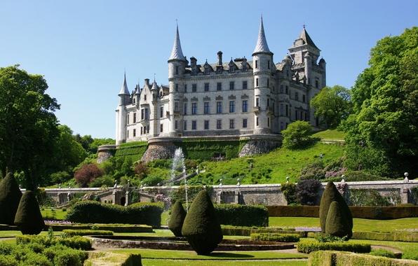 Картинка парк, замок, сад, Шотландия, фонтан, Scotland, Castle, Sutherland, Dunrobin