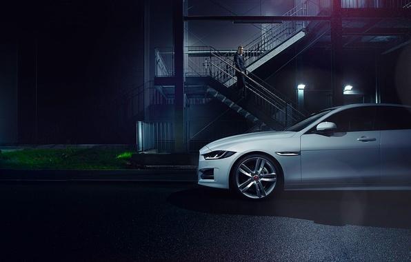 Картинка Jaguar, Car, White, Side, Automotive, Premium, 2015, Ligth, Nigth