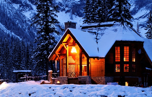 Картинка зима, свет, снег, деревья, горы, ночь, природа, дом, домик