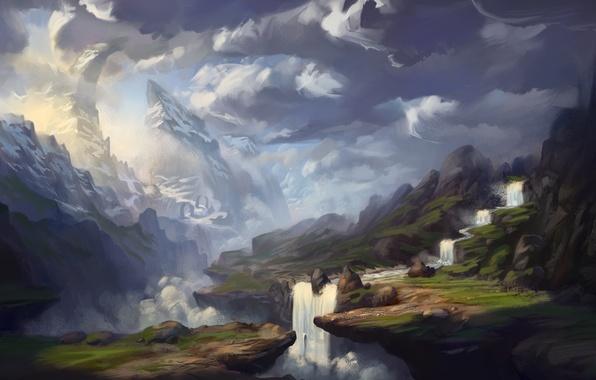 Картинка облака, горы, река, водопад, арт, нарисованный пейзаж