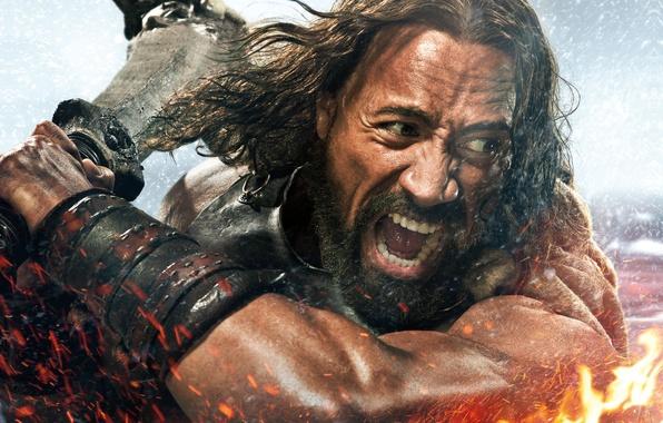 Картинка Action, Fantasy, Fire, Hero, Body, Warrior, Wallpaper, Effect, Dwayne Johnson, Hercules, Weapons, Face, Man, Movie, …