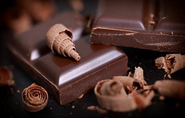 Картинка макро, плитка, шоколад, десерт, дольки, сладкое, стружка