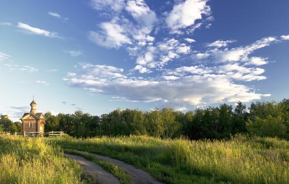 Картинка дорога, лето, пейзаж, природа, храм