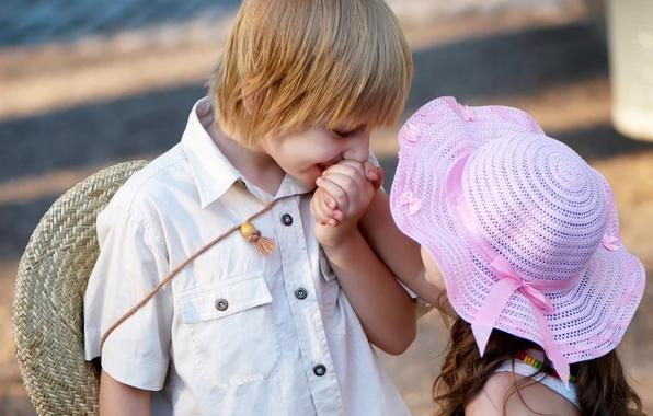 Картинка любовь, дети, детство, романтика, ребенок, поцелуй, love, Валентина, kiss, child, romance, Valentine, childhood, children, cute …