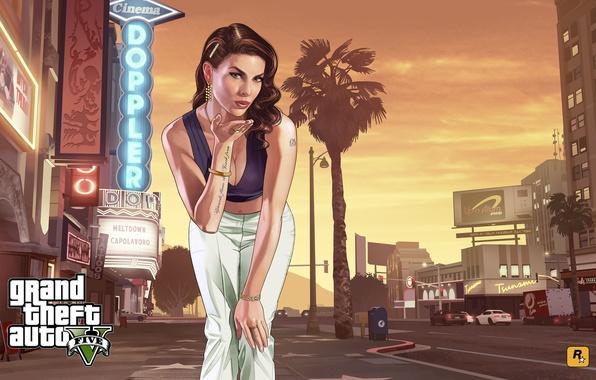Картинка взгляд, девушка, город, улица, центр, art, gta, лос сантос, Grand Theft Auto 5