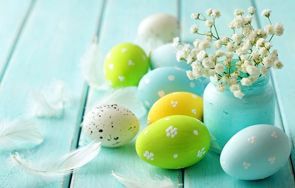 Картинка цветы, дерево, яйца, весна, пасха, пастель, blue, flowers, spring, eggs, easter, delicate, pastel