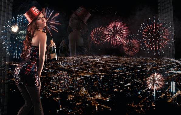 Картинка отражение, бутылка, панорама, Новый год, фейерверк, шампанское, ночной город, Tancy Marie