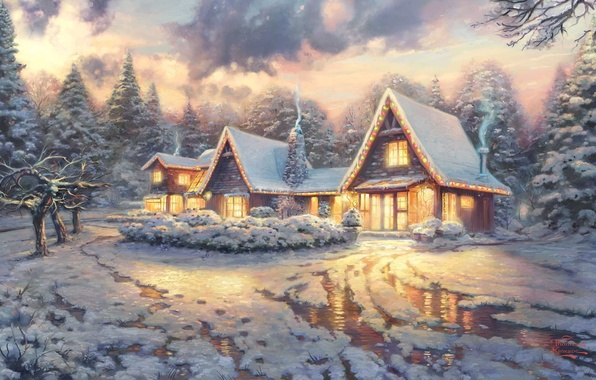 Картинка зима, свет, снег, тучи, фильм, дым, лёд, картина, домики, ice, house, живопись, ёлки, art, winter, …