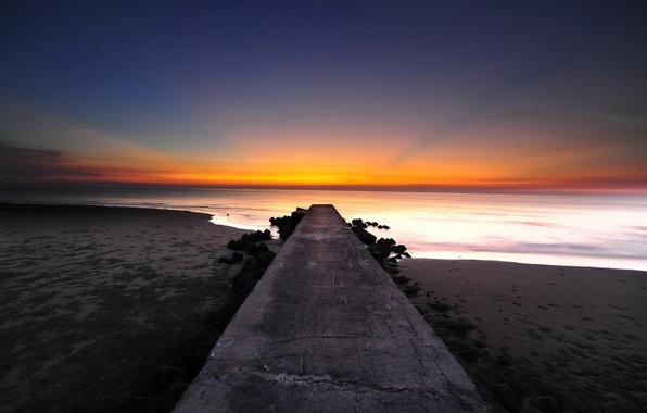 Картинка пляж, океан, рассвет, берег, пирс