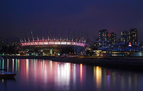 Картинка небо, ночь, город, отражение, здания, дома, небоскребы, освещение, подсветка, Канада, залив, Ванкувер, Canada, стадион, фиолетовое, …