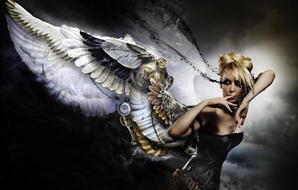 Картинка девушка, фон, механизм, крылья, ангел, платье, черное, блондинка