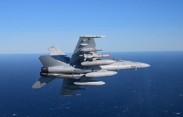 Картинка море, полет, Hornet, FA-18