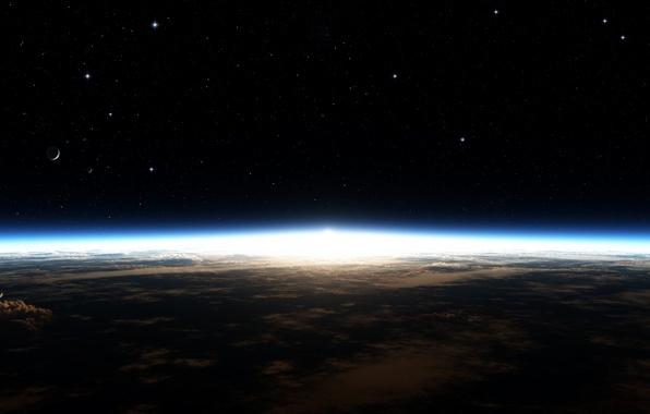 Картинка Облака, Галактика, Звезды, Планета, Горизонт, Земля, Свечение, Stars, Space, Planet