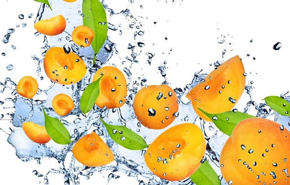 Картинка вода, капли, брызги, свежесть, оранжевый, фрукт, абрикос, water, fruit, orange, drops, spray, Apricot