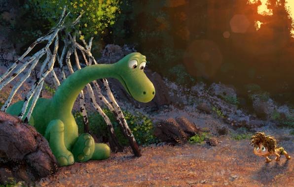 Картинка лес, зеленый, рисунок, мультфильм, динозавр, мальчик, фэнтези, арт, pixar, animation, disney, concept art, шалаш, Хороший …