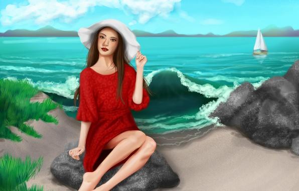Картинка песок, море, небо, взгляд, девушка, облака, шляпа, арт, ножки, живопись, красное платье
