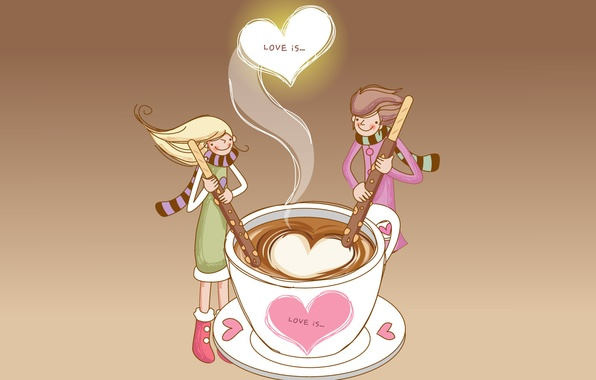 Картинка любовь, кофе, палочки, пара, сердечки, чудесное чувство, love is
