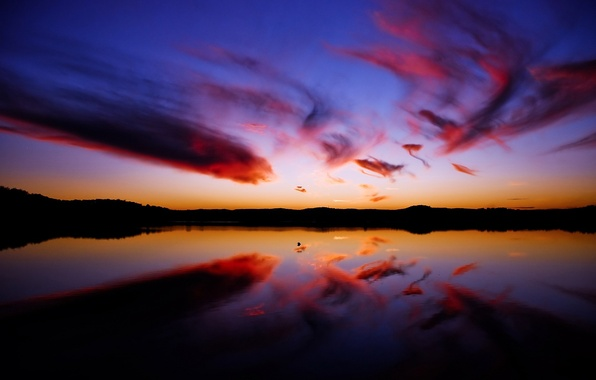 Картинка вода, облака, отражение, Закат