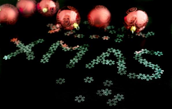 Картинка снежинки, праздник, чёрный, надпись, шары, новый год, рождество, XMAS
