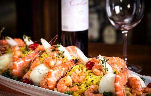 Картинка вино, рис, wine, креветки, морепродукты, shrimp, seafood